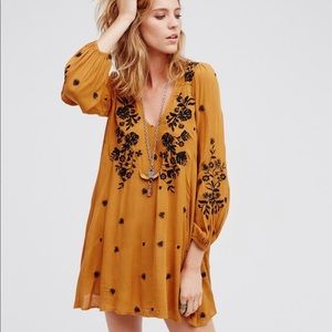 Embroidered Mustard yellow free people dress